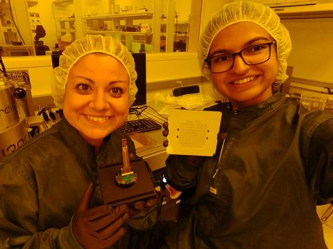 CNT researchers and lead authors of the study, Elisa Castagnola (left) and Surabhi Nimbalkar (right), holding components of the all glassy carbon neural probe inside SDSU's NanoFab.