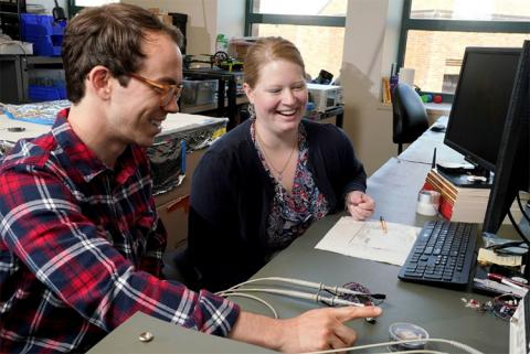 High school science teacher, Alexandra Pike, with her RET program lab mentor, James Rosenthal. Pike said she enjoyed being a part of the engineering research lab, and she was excited to learn new things over multiple years at the CNT. Rosenthal said he appreciated Pike's input, organizational abilities and the new perspective she brought to the lab.