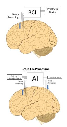 Illustration comparing a traditional BCI to a brain co-processor