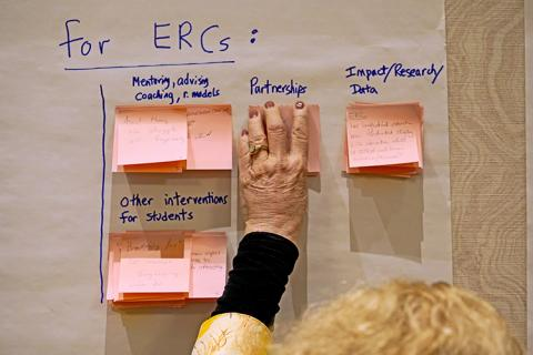 """A large piece of paper reads """"For ERC:"""" with sticky notes under categories such as mentoring, partnerships, and impact/research data. An attendee is adding a sticky note under partnerships."""