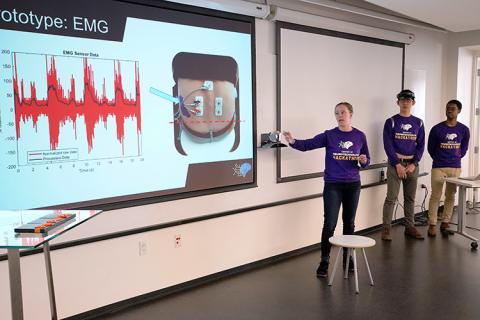 Team RISE, made up of Hackathon participants Preston Pan, Karley Benoff, and Melchizedek Mashiku created a device that supported strength, stability, and balance for people who are recovering from spinal cord injuries.