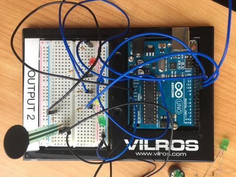A close-up of an Arduino set-up