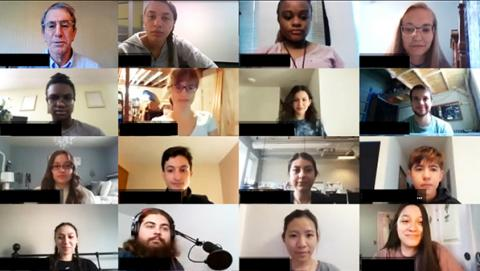 Zoom screenshot of participants in the CNT's scientific communication class
