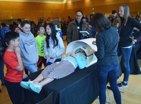 Students enjoyed taking part in this simulated magnetic resonance imaging (MRI) procedure.