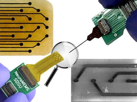 This all glassy carbon neural probe comes in two forms for monitoring different brain areas. Electrodes are embedded in a flat, flexible substrate for electrocorticography (ECoG) monitoring on the surface of the brain (lower left, magnification of electrode array used for electrical stimulation, upper left) and connected to a thin needle for intracortical readings deeper within the brain (upper right, magnification of electrode array used for dopamine detection, lower right).