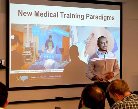 Hackathon participants, Julien Bloch and Sandra Lara (not pictured), put forward a proposal that used biofeedback and virtual reality for surgical training with the goal of reducing error reduction.