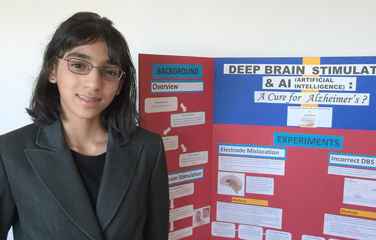 NWABR Student Bio Expo participant, Claris Winston, with her presentation that explains how deep-brain stimulation and artificial intelligence, when combined, could create better outcomes for people with Alzheimer's disease.