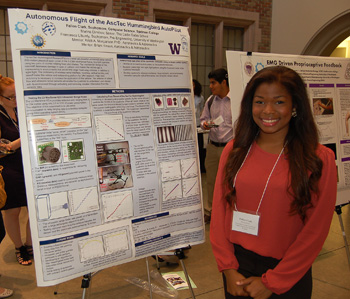 Undergraduates present their work at a research symposium.