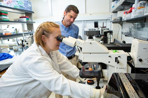 A young woman in a white lab coat looking through a microscope while a man looks over her shoulder at the sample she is studying