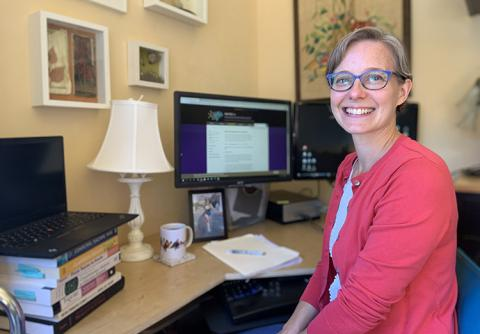 CNT Engineering Education Research Manager Kristen Bergsman in her home work space