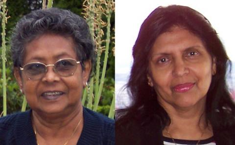 Side-by-side headshots of the Fernandos' mothers, Monica Fernando and Indra Silva